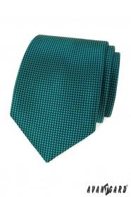 Tyrkysová kravata s černými čtverečky