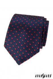 Modrá strukturovaná kravata s červenými tečkami