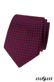 Pánská kravata bordó modré čtverečky