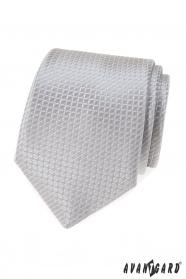 Šedá kravata s prošívaným vzorem