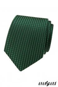 Zelená kravata s kostkovaným vzorem