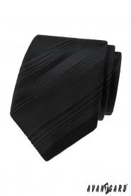 Černá kravata s různými pruhy