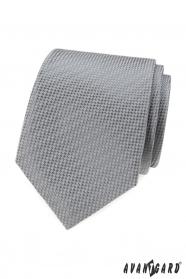 Šedá kravata s proplétaným vzorem