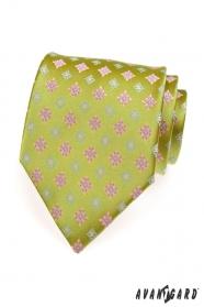 Světlezelená kravata růžový modrý vzor