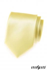 Světle žlutá pánská hladká kravata