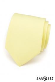 Jemně žlutá kravata matné barvy