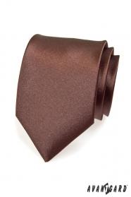 Hnědá hladká kravata pro muže