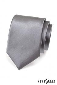 Kravata pro muže grafitová hladká