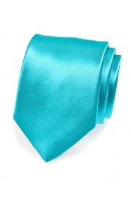 Klasická jednobarevná tyrkysová pánská kravata