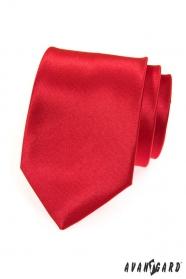Pánská kravata hladká červená