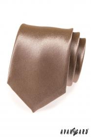 Lesklá hnědá pánská kravata