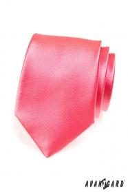 Jednobarevná pánská kravata v tmavší růžové