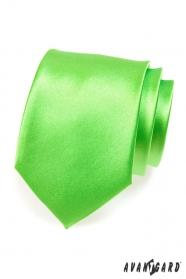 Pánská kravata středně zelená lesk
