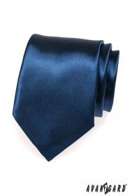 Tmavě modrá kravata lesklá