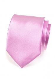 Jednobarevná lesklá kravata Lila