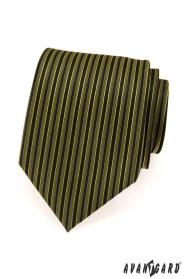 Pánská kravata zelené a černé proužky