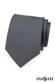 Pánská kravata grafitová jemně kostkovaná
