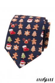 Modrá kravata s vánočním motivem