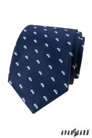 Modrá kravata s motivem bílé auto