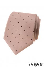 Béžová kravata s černými puntíky