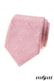 Pudrově růžová kravata se vzorem Paisley