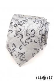 Pánská kravata černé šedé motivy