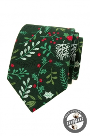 Zelená vánoční kravata