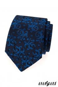 Tmavě modrá kravata s lesklým modrým vzorem