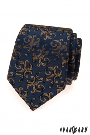 Modrá kravata s hnědými ornamenty