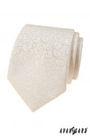 Smetanová kravata s lesklým vzorem