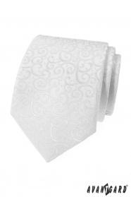 Bílá pánská kravata s lesklým vzorem