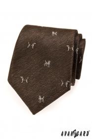 Hnědá kravata motiv pes