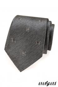 Šedá kravata motiv pes