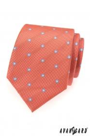 Korálová kravata blankytně modré květy