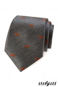 Šedá kravata oranžová liška