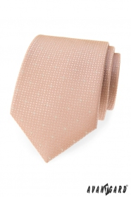 Kravata pudrové barvy s tečkami