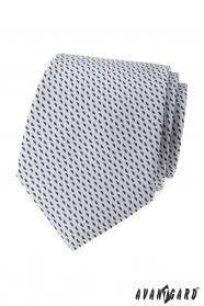 Světle šedá kravata s modrým vzorem
