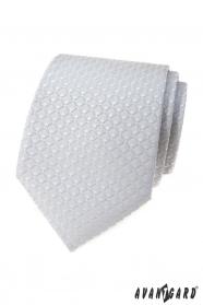 Světle šedá kravata s 3D vzorem