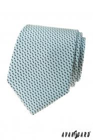 Světle mátová kravata s modrým vzorem