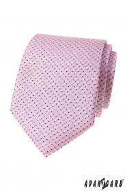 Růžová kravata s jemným modrým vzorem