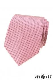 Růžová kravata s drobnými tečkami