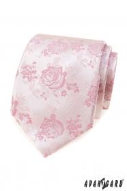 Růžová kravata s růžemi
