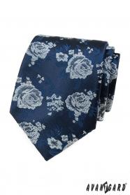 Modrá kravata bílé růže