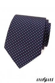 Modrá kravata s barevnými puntíky