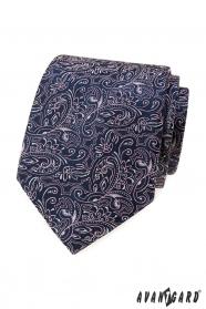Tmavě modrá kravata s paisley v růžové