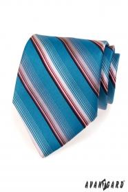 Modrá kravata s proužky v růžové
