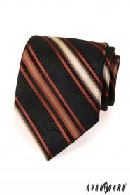 Černá pánská kravata s oranžovými pruhy