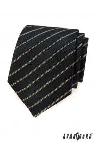 Černá kravata s hnědým proužkem