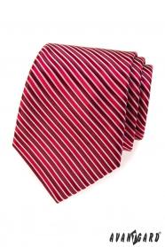 Červená kravata s bordó proužky