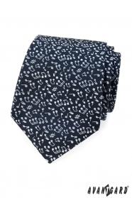 Pánská modrá kravata motiv Nota